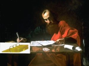 Apostle Paul writing with the lds gold plates