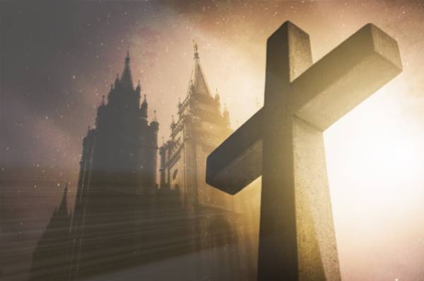 BIg cross standing in front of temple with light emitting behind it