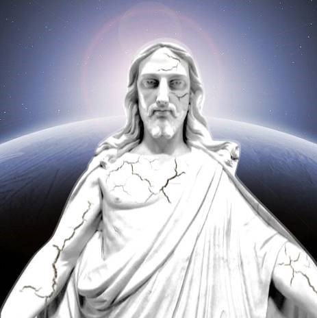 A cracked Christus with majestic space background